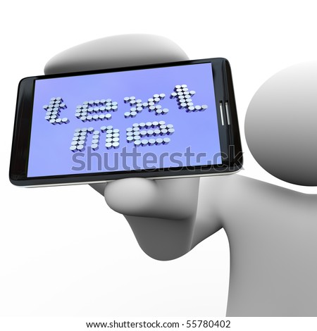A person holds a smart phone with the message Text Me - stock photo