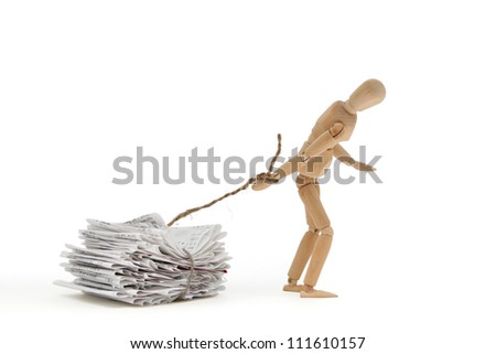 A person pulls his weight with heavy debt - stock photo