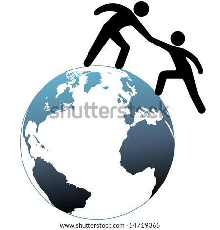 A person reaches out a helping hand to help a friend up on top of the world. - stock photo