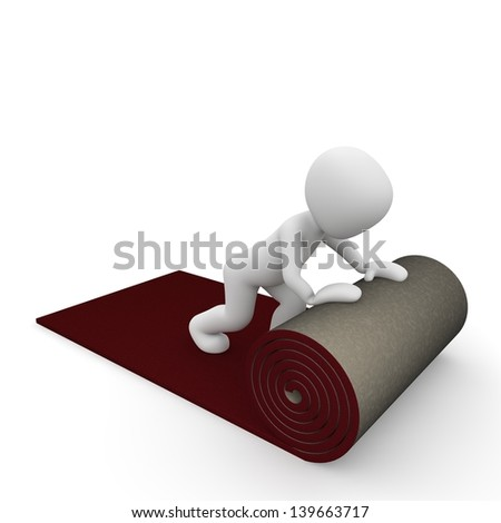 A person rolls out the red carpet. - stock photo