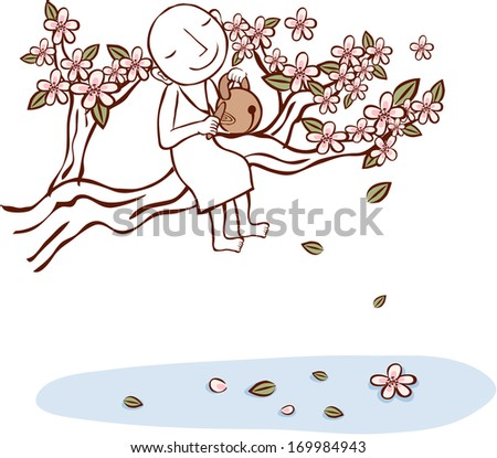 A person sits on a flowering branch. - stock photo