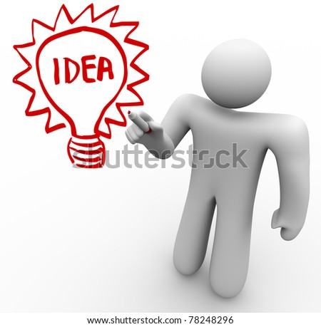 A person stands before a clear glass board and draws a light bulb with the word Idea in it as he brainstorms and thinks of an innovation that solves a problem - stock photo