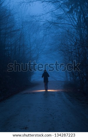 A person with light in forest in night - stock photo