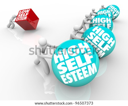 A person with low self esteem is losing the race of life against people with high self assuredness and respect, showing the importance of confidence and attitude - stock photo