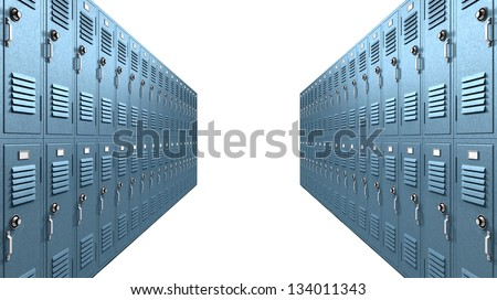 A perspective view of a stack of blue metal school lockers with combination locks and doors shut on an isolated background - stock photo