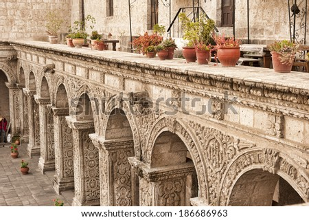 A Peruvian courtyard in Arequipa on a sunny day. - stock photo