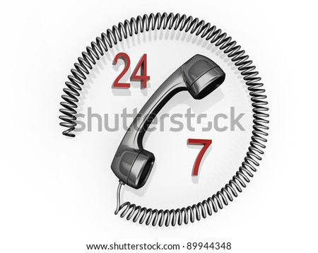 A phone receiver with its cord in a circle around it and the numbers 24 and 7. - stock photo