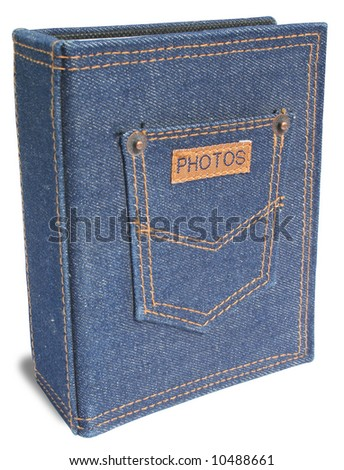 A photo album made by jean - stock photo