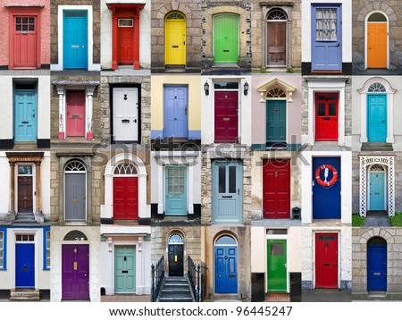 A photo collage of 32 colourful front doors to houses and homes - stock photo
