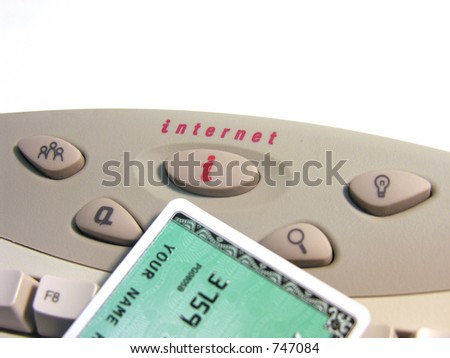 A photo of a credit card on a keyboard - stock photo