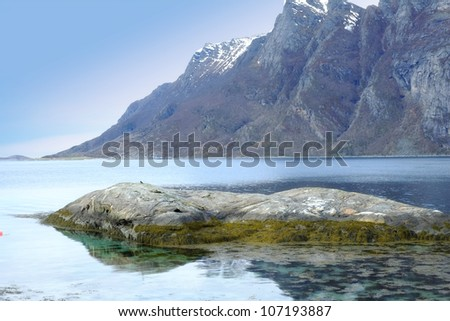 A photo of a fjord in Norway - stock photo