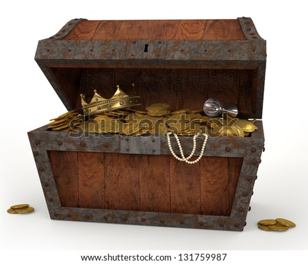 A photo of a pirates chest full of loot on a white background. - stock photo