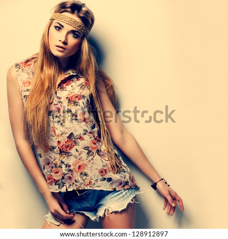 A photo of beautiful girl is in fashion style ,vintag - stock photo