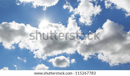 A photo of clouds and blue sky - stock photo
