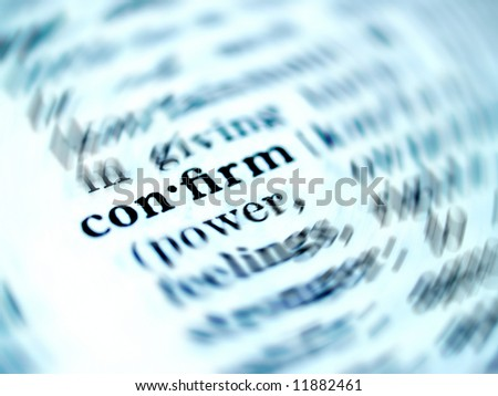 a photo of  comfirm  word in dictionary - stock photo