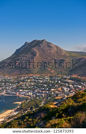a photo of Fish Hoek - a small village found in Cape Town, South Africa. - stock photo