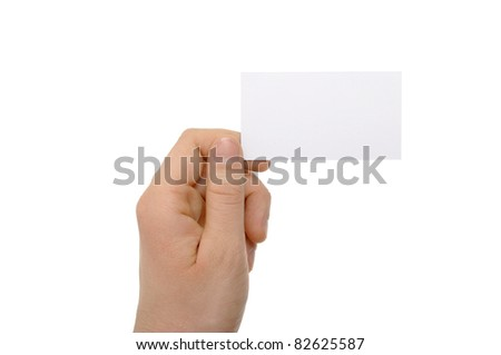 a photo of hand holding business card - stock photo