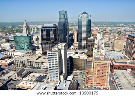 A photo of Kansas City taken from the top floor of City Hall. - stock photo
