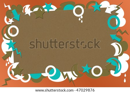 A photo of kraft paper on a coral  background surrounded by turquoise,  brown & white shapes - stock photo
