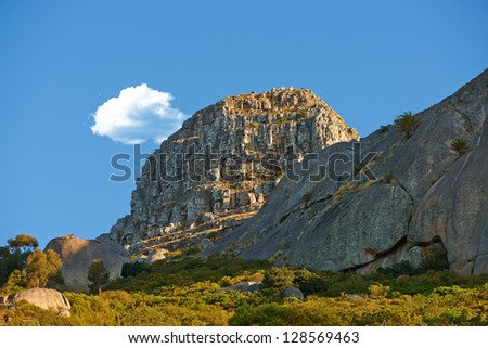 A photo of mountain and boulders, Western Cape, South Africa - stock photo