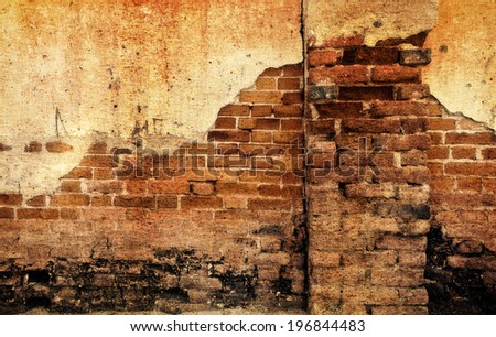 a photo of old crack wall ,grunge style - stock photo