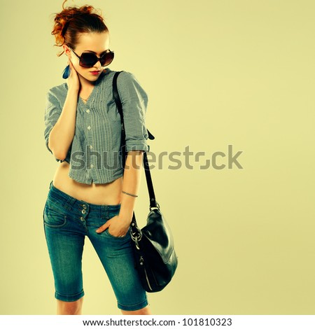 A photo of sexual  beautiful girl is in fashion style - stock photo