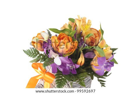 a photo of Summer bouquet over white background - stock photo