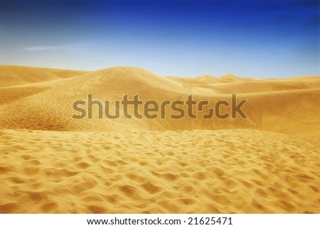 A photo of the desert area in Gran Canaria, Spain - stock photo