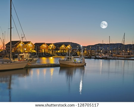 A photo of the harbor of Bodo at night, North of the Polar Circle, Norway - stock photo