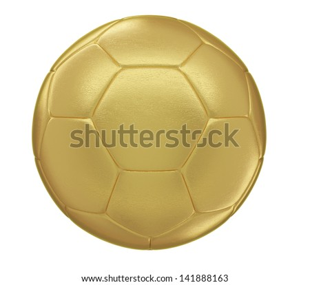 A photo realistic golden soccer ball isolated on white (series). Even the fine leather bump is visible. - stock photo
