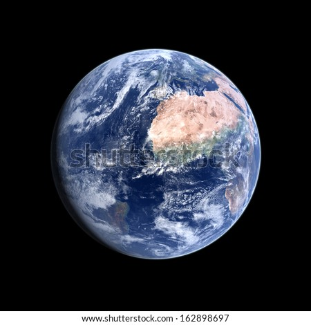 A photo-realistic rendering of our Home-planet Earth on a clean black background. - stock photo
