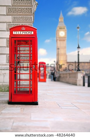 A photography of a red phone box in London UK - stock photo