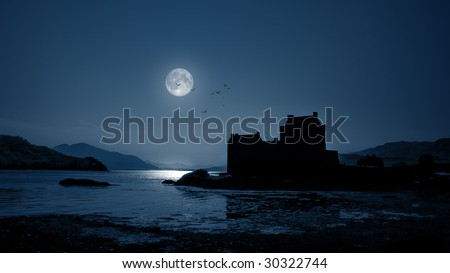 A photography of Eilean Donan Castle by night - stock photo