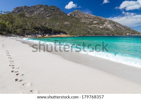 A photography of Wineglass Bay in Tasmania - stock photo