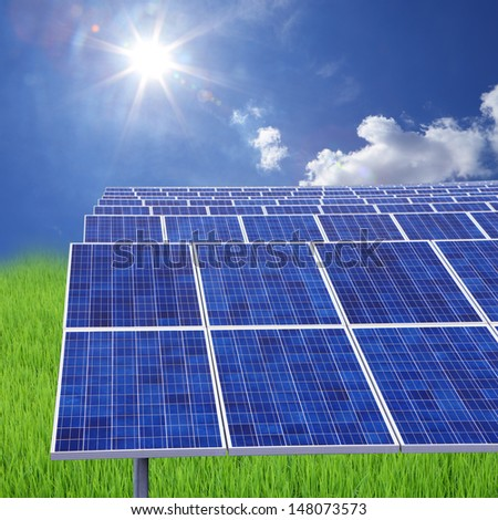 A photovoltaic power station,is a photovoltaic system designed for the supply of merchant power into the electricity grid. They are sometimes also referred to as solar farms or solar ranches - stock photo