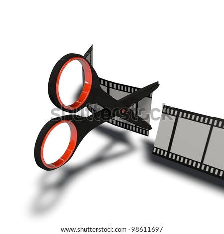 a pictogram to symbolize video cutting and editing - stock photo