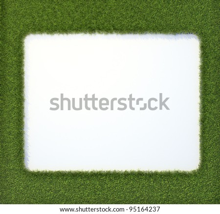A picture frame made out of grass - stock photo