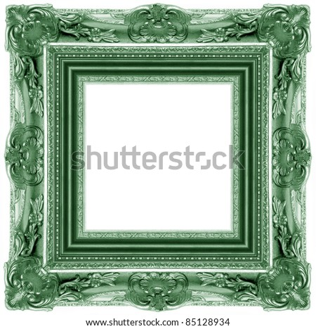 a picture green frame on a white - stock photo