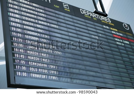 A picture of a brand new departure board at the airport - stock photo