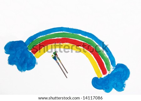 A picture of a colorful rainbow painted by a five year old - stock photo