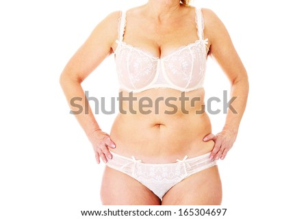 A picture of a fat woman posing over white background - stock photo