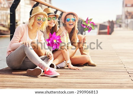 A picture of a group of friends having fun in the city - stock photo
