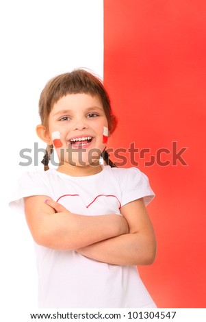 A picture of a Polish little girl in national colors smiling over the flag - stock photo