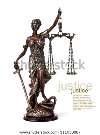 A picture of a Themis statue standing over whitek background - stock photo