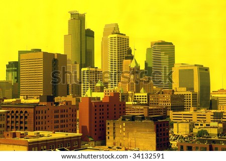 A picture of downtown Minneapolis through yellow filter - stock photo