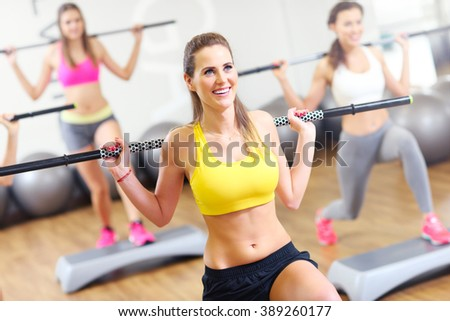 A picture of female group working out in gym - stock photo