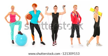 A picture of five friends working out different sports over white background - stock photo