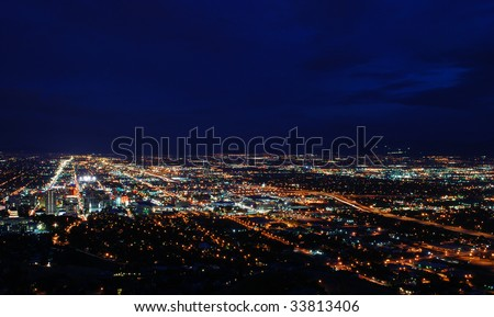 A picture of the Salt Lake City, Utah at night. - stock photo