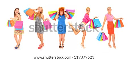 A picture of young sexy women with shopping bags over white background - stock photo