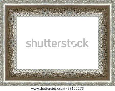 a picture silver frame on a white - stock photo